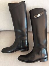 100% AUTH Hermes Black JUMPING boots shoes Kelly 37.5 RRP AU$3670