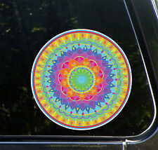 "CLR:CAR - Mandala - Rainbow Heart - Vinyl Car Decal ©YYDC (5"" Diameter)"