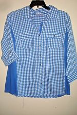 Ladies Plus Blouse Knit To Fit Blue Check Size 2X ...FREE USA Shipping!