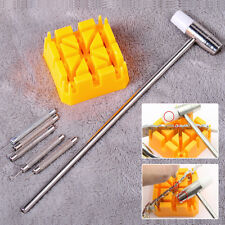 Watch Band Bracelet Link Repair Remover Tool Hammer Punch Pins Strap Holder Kit