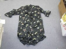Vintage Long Black Lined Asian Chinese Women's Robe China Front Pockets Size 36