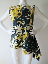 Auth MARNI Sleeveless Printed Cotton Top Blouse Yellow Navy Size 44