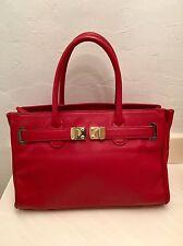 """ONNA EHRLICH Red Leather Maya Shoulder Bag / Goldtone  • LG 14"""" L • Mint!"""