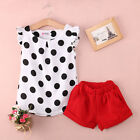 Kids Baby Girls 2PCS set Black Dot Tops Shirt Red Shorts Outfits Clothes 1-6Y