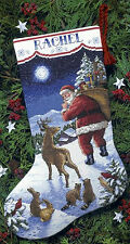 Cross Stitch Kit ~ Dimensions Santa's Arrival Animals Xmas Stocking #8683