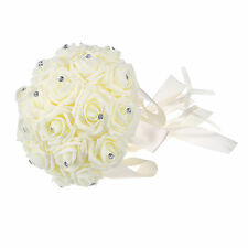 Wedding Flowers Ivory Rose Crystal Bouquet Bride Bridesmaid Wand Cream Color