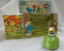 Smurf Frog Car with Strumfitta, Die-Cast Metal, Made in Italy,Puffi 1983
