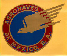 AERONAVES de MEXICO - Scarce / Large Old Airline Luggage Label / Decal, c. 1960