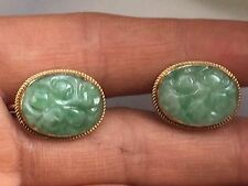 antique/vintage  hallmark 9k carved nature jade screw type gold earring-3.9g