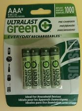 8 AAA Rechargable Batteries Pre-Charged Ultralast Green
