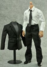 █ ZY TOYS 1/6 Black Suit for Custom Narrow Shoulder Body Shirt Hot Men █