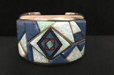 Cuff Bracelet * Native American Indian *Pawn* Sterling & GREAT Inlay