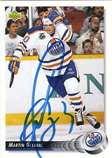 MARTIN GELINAS OILERS AUTOGRAPH AUTO 92-93 UPPER DECK #282 *28144