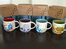 4 Mug Set:Disney Starbucks Magic + Animal Kingdom + Hollywood + EPCOT YAH