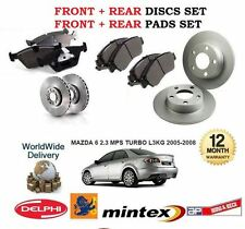 FOR MAZDA 6 2.3 MPS TURBO L3KG 2005-2008 FRONT + REAR BRAKE DISCS SET + PADS KIT