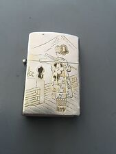 Rare Collectible Japanese Sterling 950 U graves Zippo w/ Mountain In Back