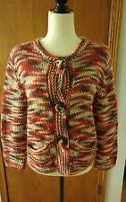 Womens Ruby Rd Red Gray Thick Knit Wool Acrylic Big Button Cardigan Sweater Sz L