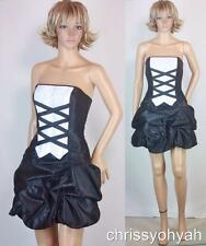 VTG Mini Gunne Sax Black White Strapless Tuxedo Drape Bubble Prom Cocktail Dress