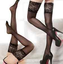 Sexy Sheer Lace Top Silicone Band Stay Up Thigh High Stockings Pantyhose black