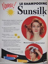 PUBLICITÉ 1957 SHAMPOOING SUNSILK MOUSSE IMMÉDIATE CHEVEUX DOCILES - ADVERTISING