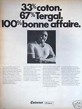 PUBLICITÉ EMINENCE SOUS VÊTEMENTS SLIP POUR LES HOMMES 33% COTON 67% TERGAL