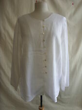 Ladies Blouse Selective size 18, white 100% linen smart/casual s- 1952