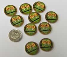 10 x 18 mm. Pretty Vintage Style Wooden Buttons.Owls. Sewing/scrapbooking/crafts