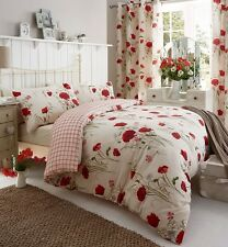 """66"""" X 72"""" Catherine Lansfield Wild Poppies Floral Pair Curtains Eyelet Ring Top"""