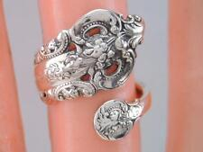 ANTIQUE WALLACE GRANDE BAROQUE PATTERN STERLING SILVER SPOON RING Sz 6 1/2.