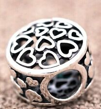 HEARTS ALL OVER SENTIMENTS of LOVE  925 Sterling Silver European Charm Bead