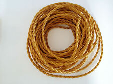 Gold Antique Braided Woven Fabric Lamp Cable Wire Cord Light Electric Flex