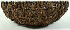 Round Wicker Bowl Basket Reed Grass Over Metal Frame Heavy Duty Fruit Large 12""
