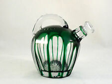 Emerald Green Cut to Clear Crystal Glass Whiskey Rum Jug Cordial Decanter