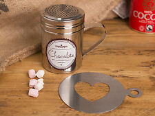 LA CAFETIERE Cocoa Shaker & Stencil GIFT SET, Stainless Steel