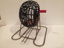 VINTAGE TABLETOP BLACK BINGO CAGE WITH BAKELITE RED HANDLE