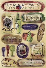Karen Foster Stickers-BON APPETIT scrapbooking WINE FOOD CHEESE