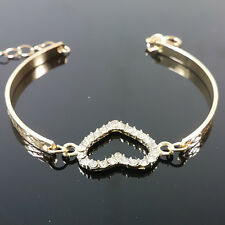 New Fashion Cute Women Gold Crystal Rhinestone Love Heart Bracelet Jewelry