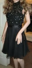 BNWT Ladies Sherri Hill Black Jewel &Lace Floaty Cocktail Short Dress Size 6-8