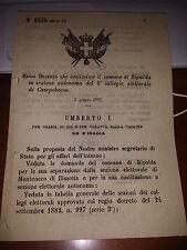 REGIO DECRETO 1887 COST COMUNE RIPALDA SEZ CAMPOBASSO CITA MONTENERO di BISACCIA