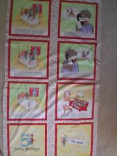 """Brushed Cotton Fabric-Funky Monkey Quilt/Book Panel-So Cute--23"""" x 43"""""""