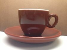 INKER PORCELINE DEMI TASSE CAPPUCCINO 2.5 CUP AND SAUCER TWO-TONE BROWN WHITE