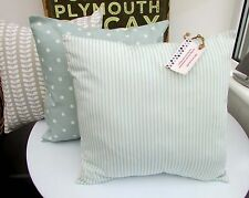 SHABBY CHIC CUSHION COVER DUCK EGG BLUE STRIPE MARLOW WHITE SEASIDE TURQUOISE (