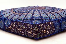 Peacock Mandala Floor Pillow Indian Tapestry Meditation Cushion Cover Square 35""