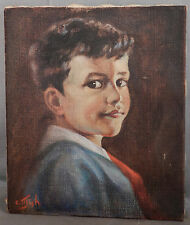 Antique Vintage Oil Painting Little Joe Charlotte Mish Portrait Young Boy Red