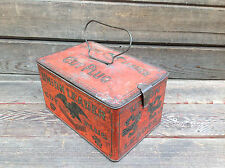 "Union Leader Cut Plug ""For Smoking For Chewing"" Lunch Pail Tobacco Tin"