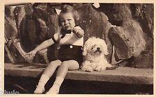BJ560 Carte Photo vintage card RPPC enfant chien dog signe main  St Sebastian