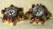 Estate 14k Gold 1.25 Diamond Earrings with Ruby Jackets. Gem Lab Cert. 1.63CTTW