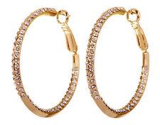 """Swarovski Elements Crystal 1 1/2 """" Baha Hoop Pierced Earrings Gold Plated 7214y"""