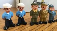 Vintage Spanish Mud People Collectible Figures Army Navy Marines Air Force