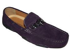 YH40 New Purple LOAFER SLIP ON MOCCASIN faux Leather Suede Mens Shoe Size 8